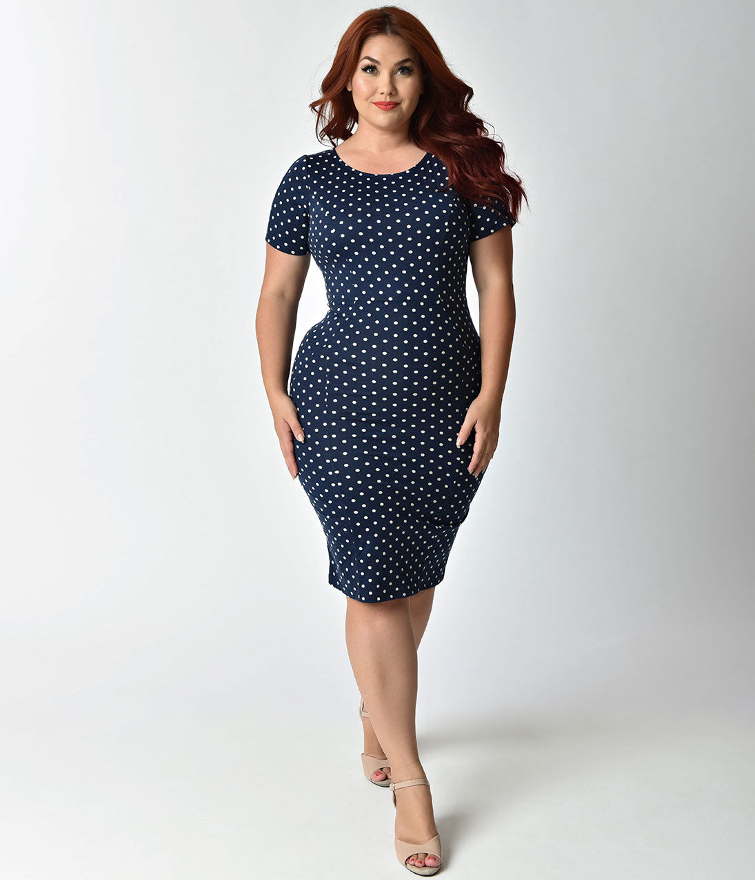 Polka Dot Dresses: 20s, 30s, 40s, 50s, 60s Unique Vintage Plus Size 1960S Style Navy  Ivory Dotted Short Sleeve Stretch Mod Wiggle Dress $52.00 AT vintagedancer.com