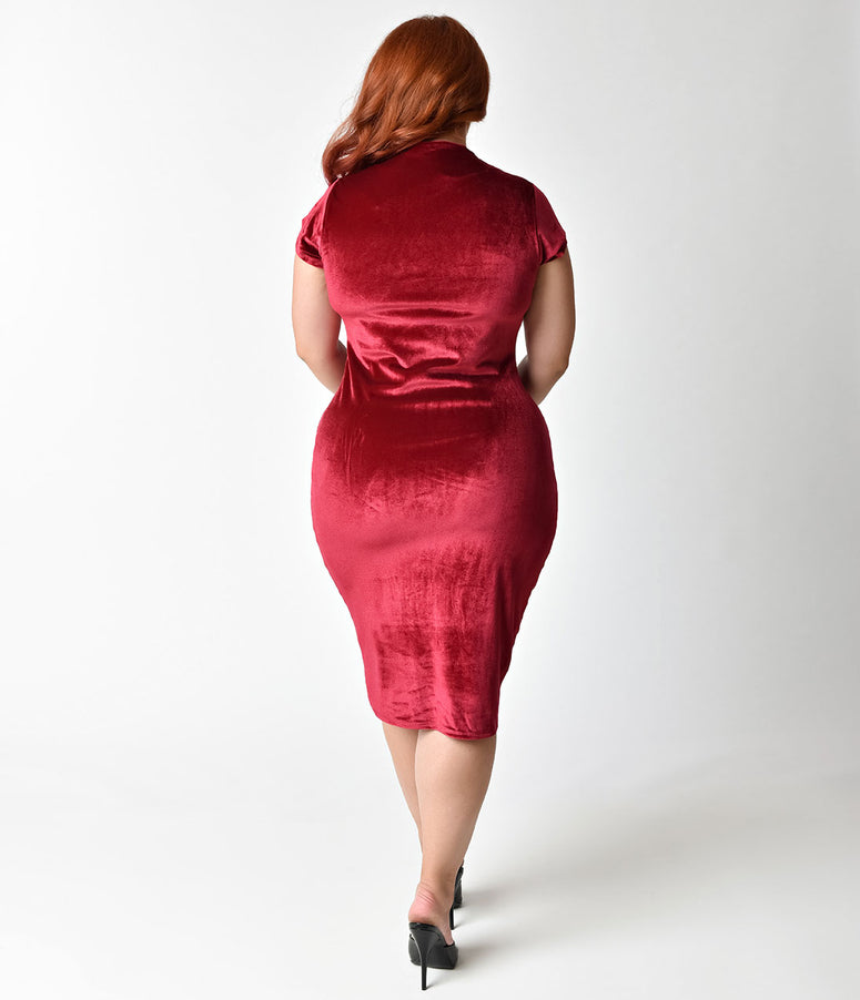 Unique Vintage Plus Size 1960s Raspberry Red Velvet Stretch Knit Cap Sleeve Holly Wiggle Dress