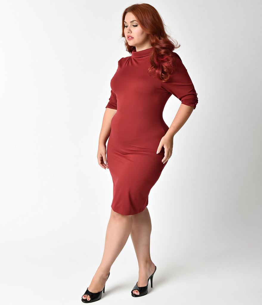 Unique Vintage Plus Size 1960s Rust Red Knit Half Sleeve Cassidy Wiggle Dress