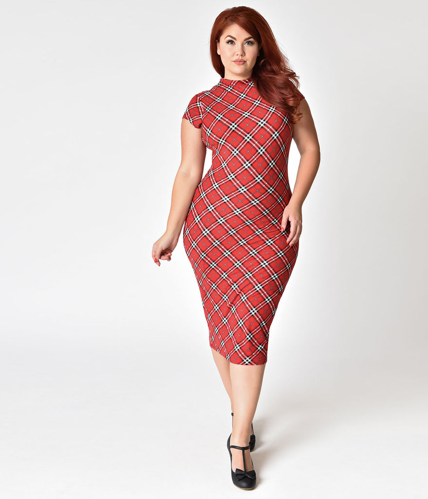 Unique Vintage Plus Size 1960s Red Plaid Stretch Knit Cap Sleeve Holly Wiggle Dress