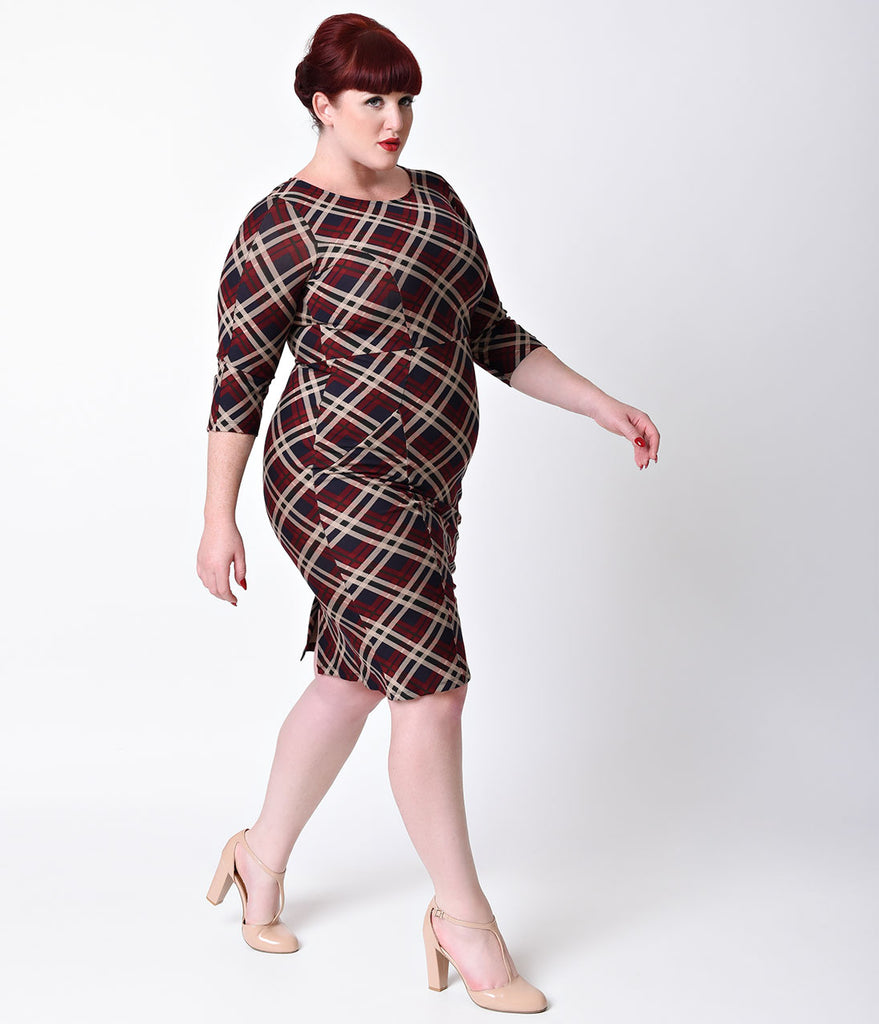 Unique Vintage Plus Size 1960s Style Red Plaid Long Sleeve Mod Wiggle Dress