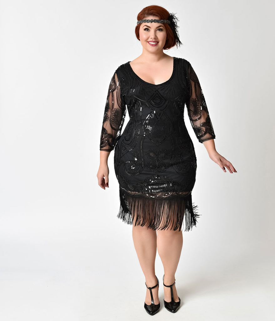 Unique Vintage Plus Size Black Beaded & Sequin Margaux Sleeved Fringe