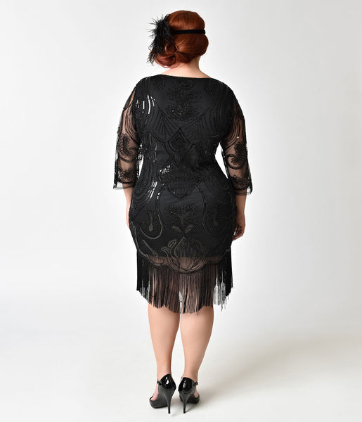 Unique Vintage Plus Size Black Margaux Fringe Flapper