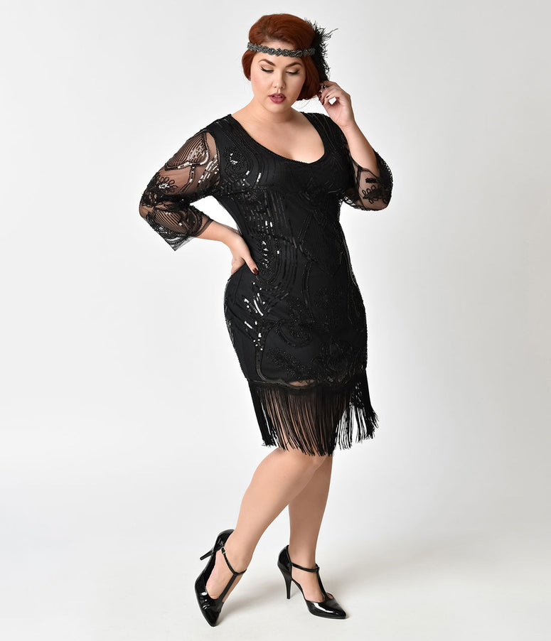 Unique Vintage Plus Size Black Beaded & Sequin Margaux Sleeved Fringe Flapper Dress