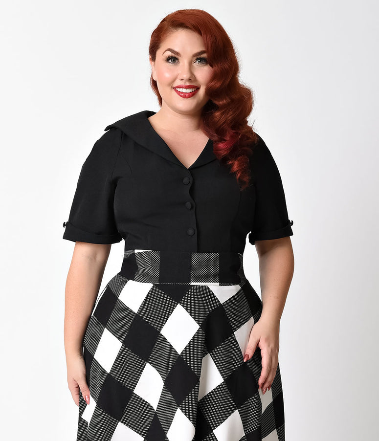 Unique Vintage Plus Size Black Button Up Short Sleeve Coco Top