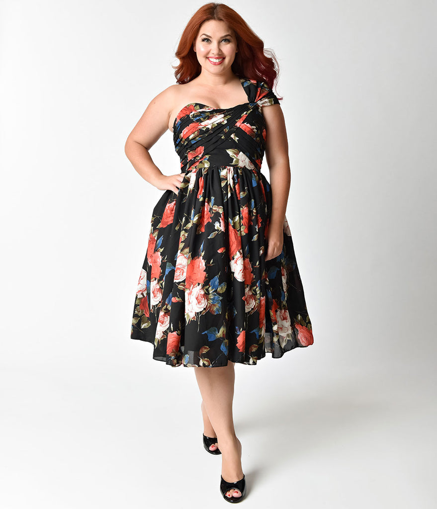 Unique Vintage Plus Size Black Floral Charisse One Shoulder Dress