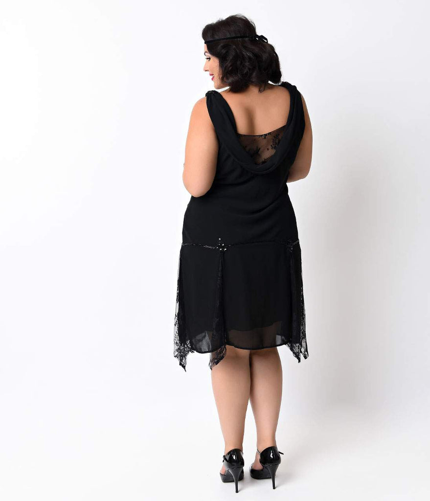 Unique Vintage Plus Size Black Hemingway Flapper Dress