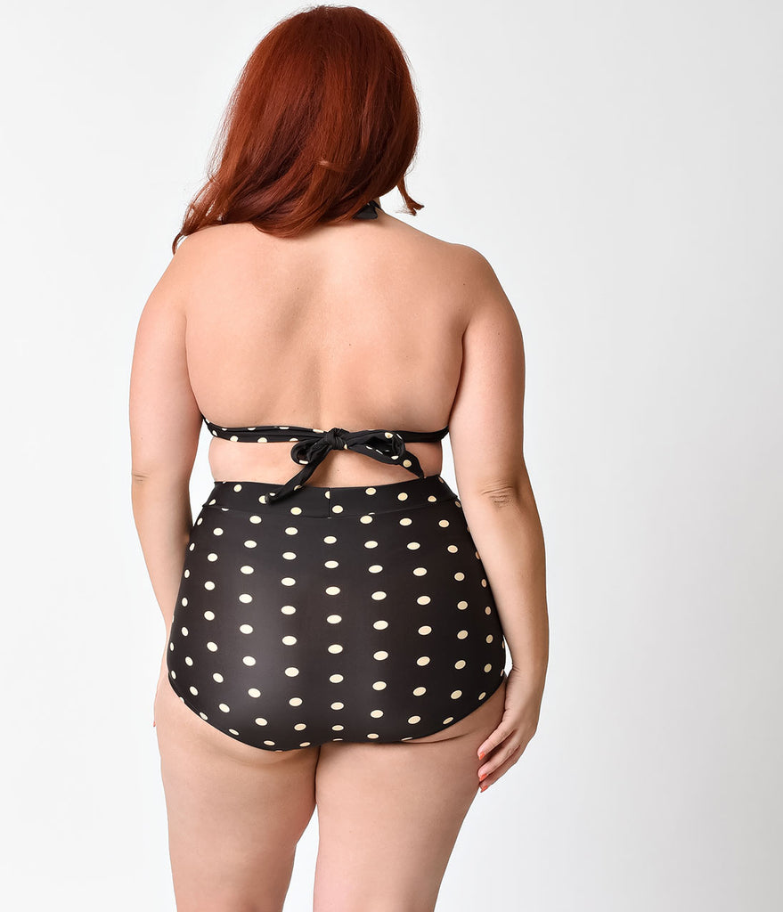 Unique Vintage Plus Size Black & Ivory Dot Monroe Bikini Top