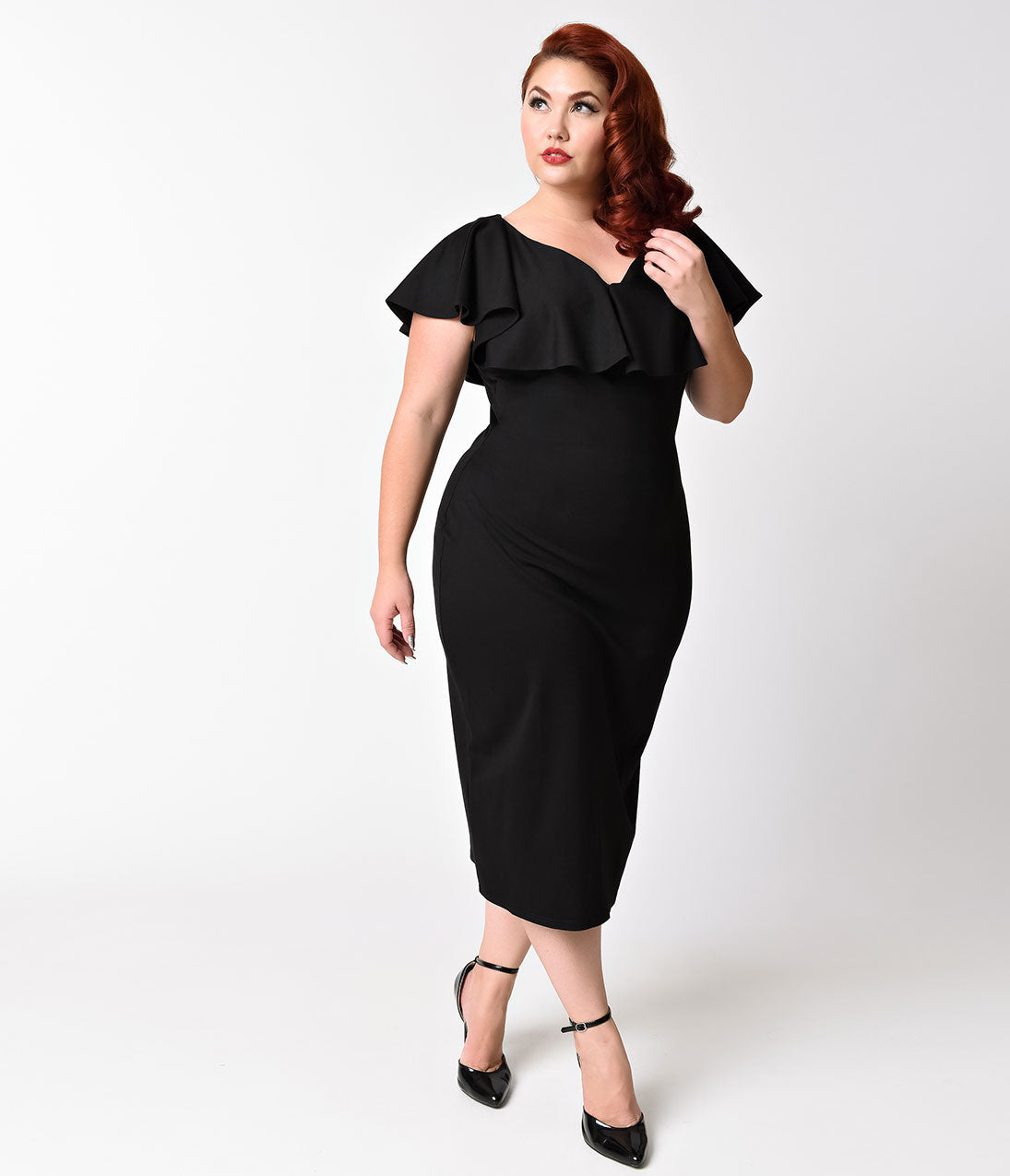 Vintage 50s Dresses: 8 Classic Retro Styles Unique Vintage Plus Size Black Knit Draped Sophia Wiggle Dress $59.00 AT vintagedancer.com