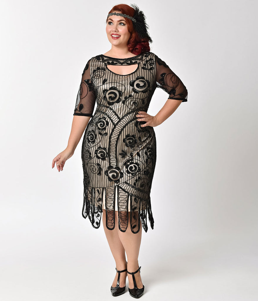 Unique Vintage Plus Size Black & Nude Beaded Half Sleeved Avalon Flapper Dress