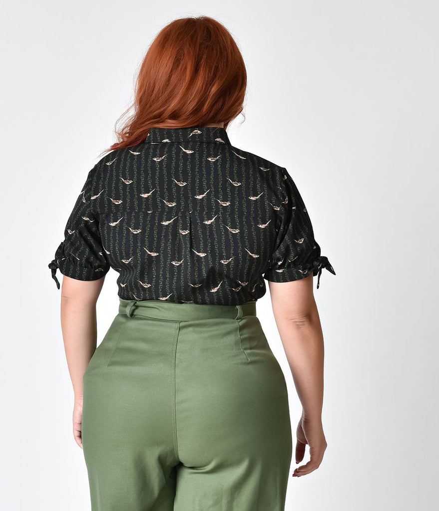 Unique Vintage Plus Size Black Sleeved Birds On The Vine Button Up Colvin Blouse