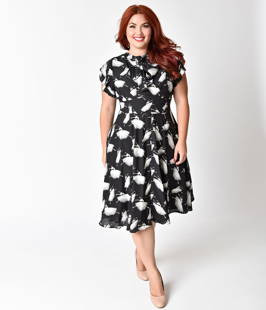 Unique Vintage Plus Size 1940s Black & White Prima Ballerina Print Cap Sleeve Dixon Day Dress