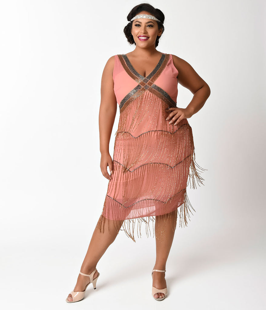 Unique Vintage Plus Size Dark Rose Beaded Fringe Countess Flapper Dress
