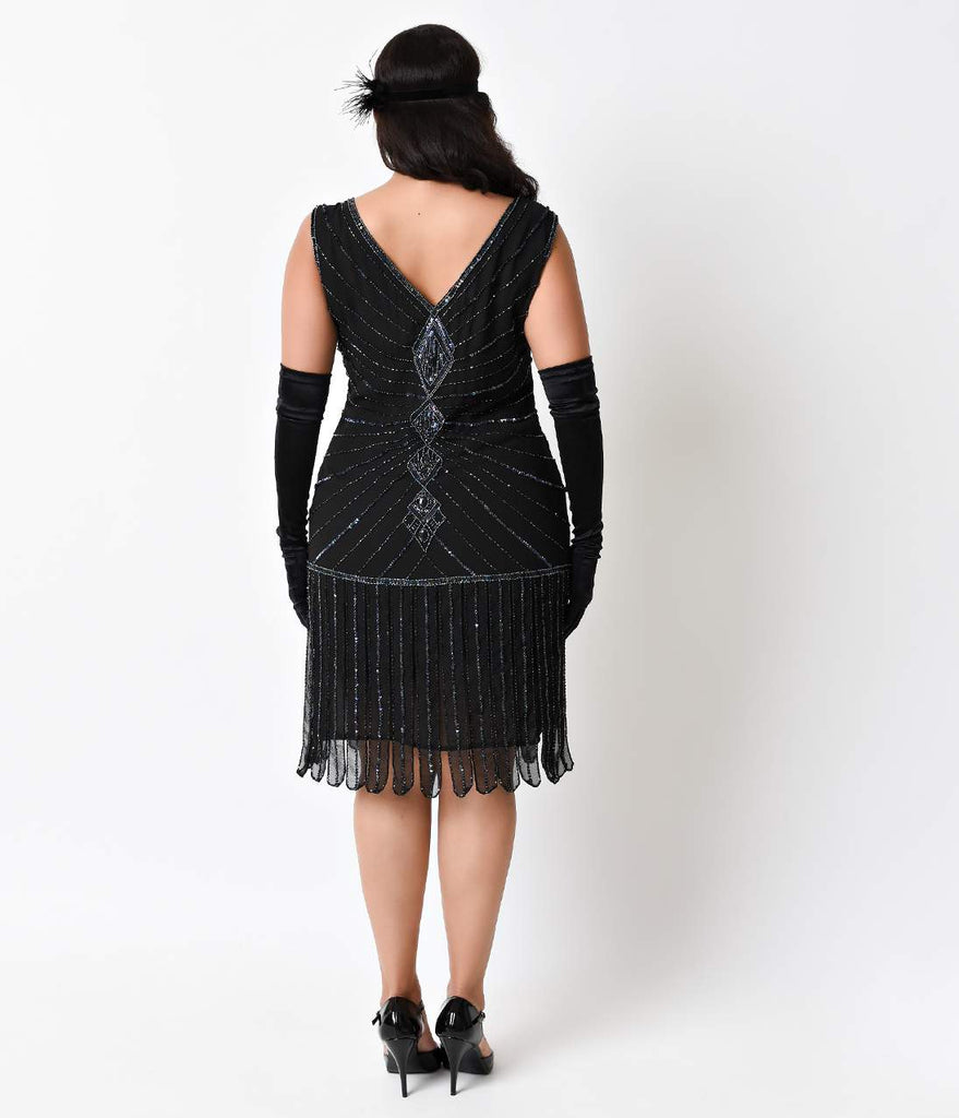 Unique Vintage Plus Size Deco Black Beaded Fringe Aelita Flapper Dress