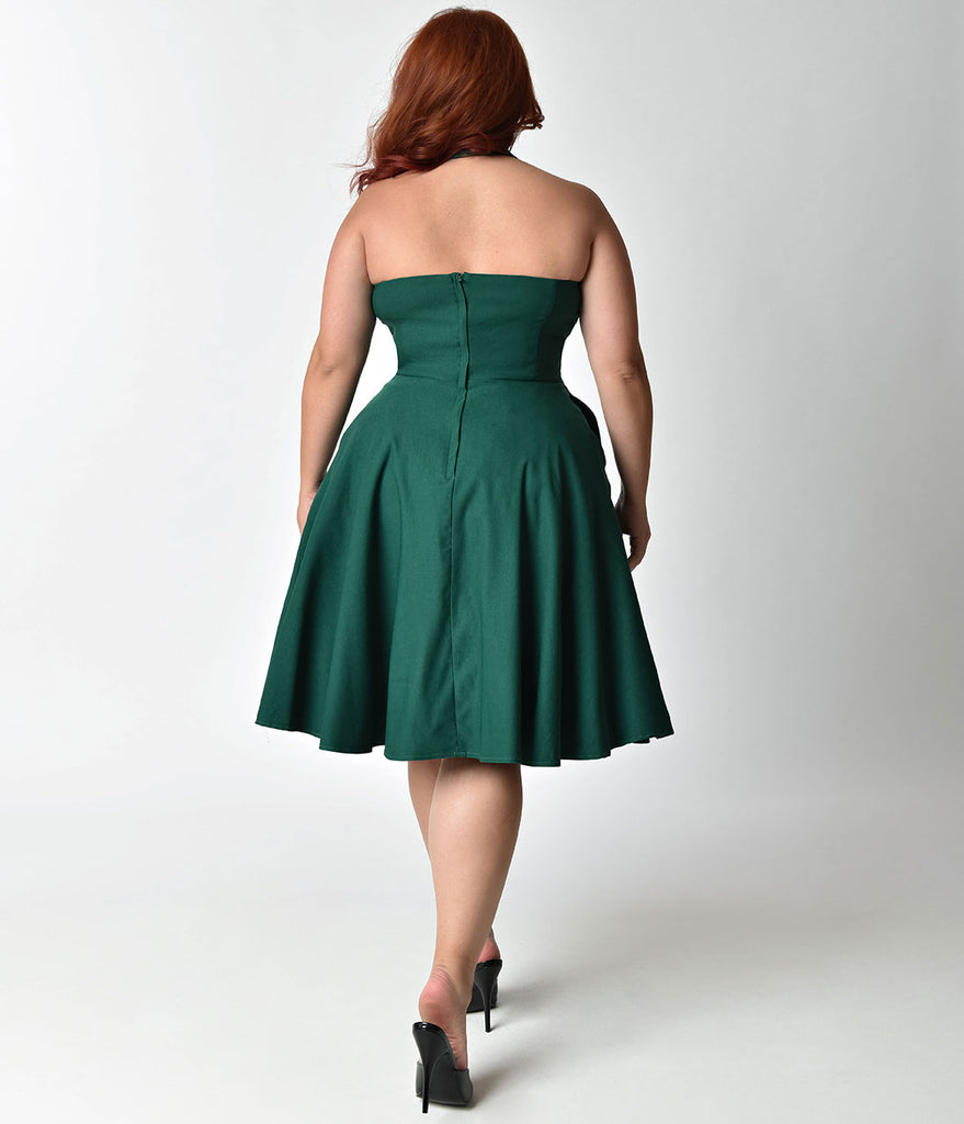 Unique Vintage Plus Size Emerald Green Cross Halter Rita Flare Dress