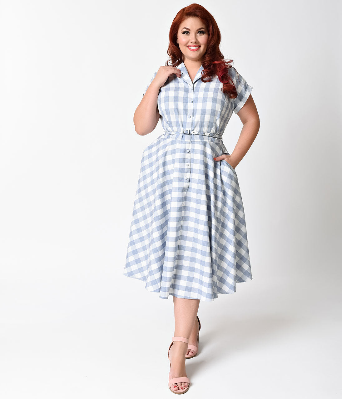 Modest, Mature, Mrs. Vintage Dresses – 20s, 30s, 40s, 50s, 60s Unique Vintage Plus Size 1950S Style Light Blue  White Gingham Alexis Short Sleeve Swing Dress $98.00 AT vintagedancer.com