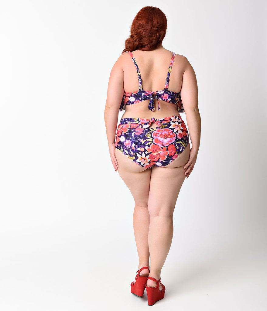 Unique Vintage Plus Size Multicolor Painters Floral Mrs. Peggy Swim Bottoms