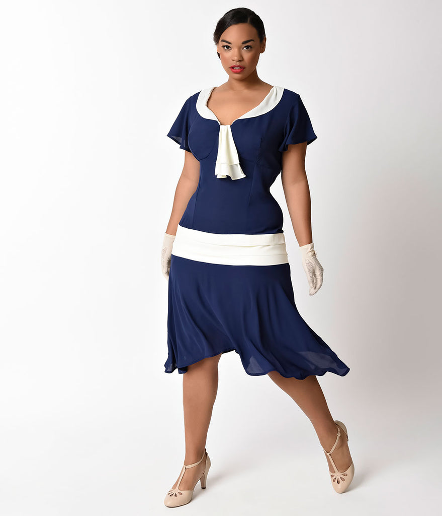 Unique Vintage Plus Size 1920s Style Navy Blue & Ivory Wilshire Chiffon Flapper Day Dress