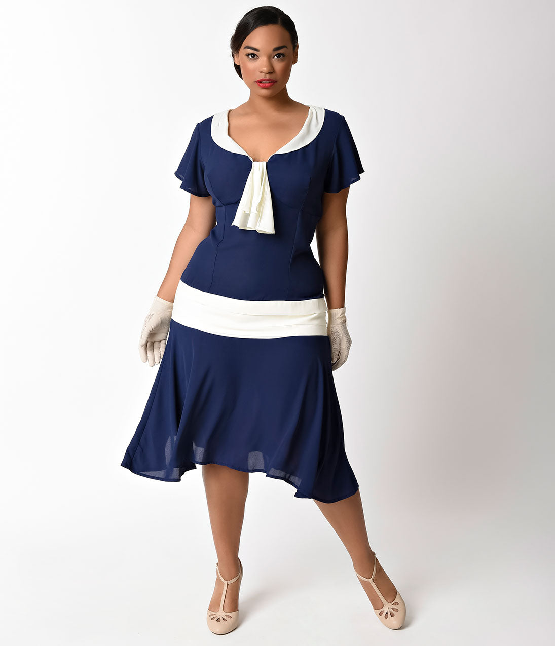 1920s Day Dresses, Tea Dresses, Mature Dresses with Sleeves Unique Vintage Plus Size 1920S Style Navy Blue  Ivory Wilshire Chiffon Flapper Day Dress $78.00 AT vintagedancer.com