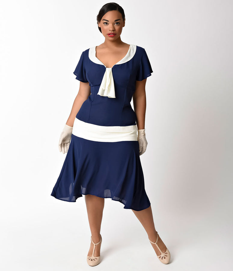 Unique Vintage Plus Size 1920s Style Navy Blue & Ivory Wilshire Flapper Day Dress