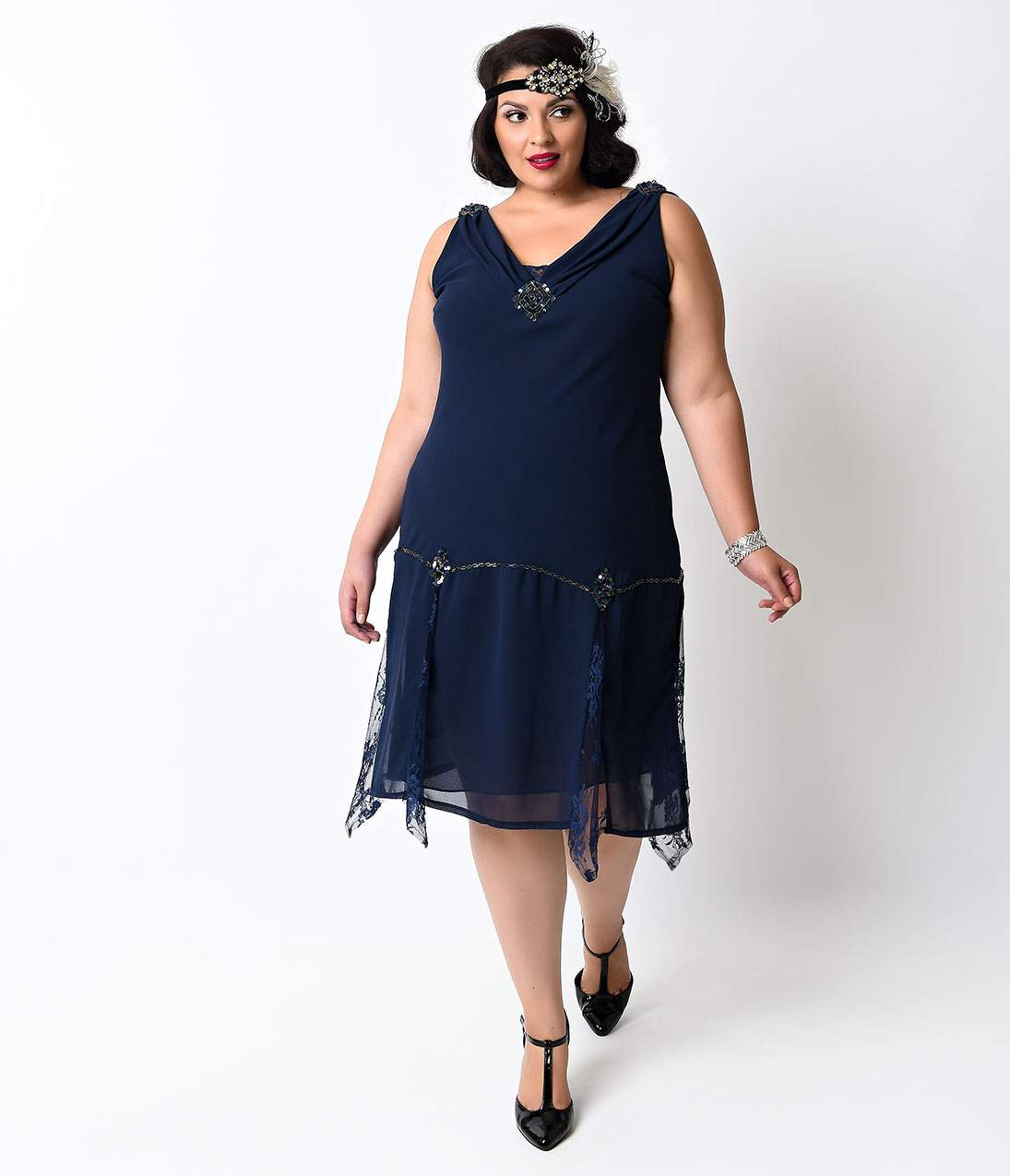 History of 1920s Day Dresses – Shop Day Dresses Unique Vintage Plus Size Navy Hemingway Flapper Dress $56.00 AT vintagedancer.com