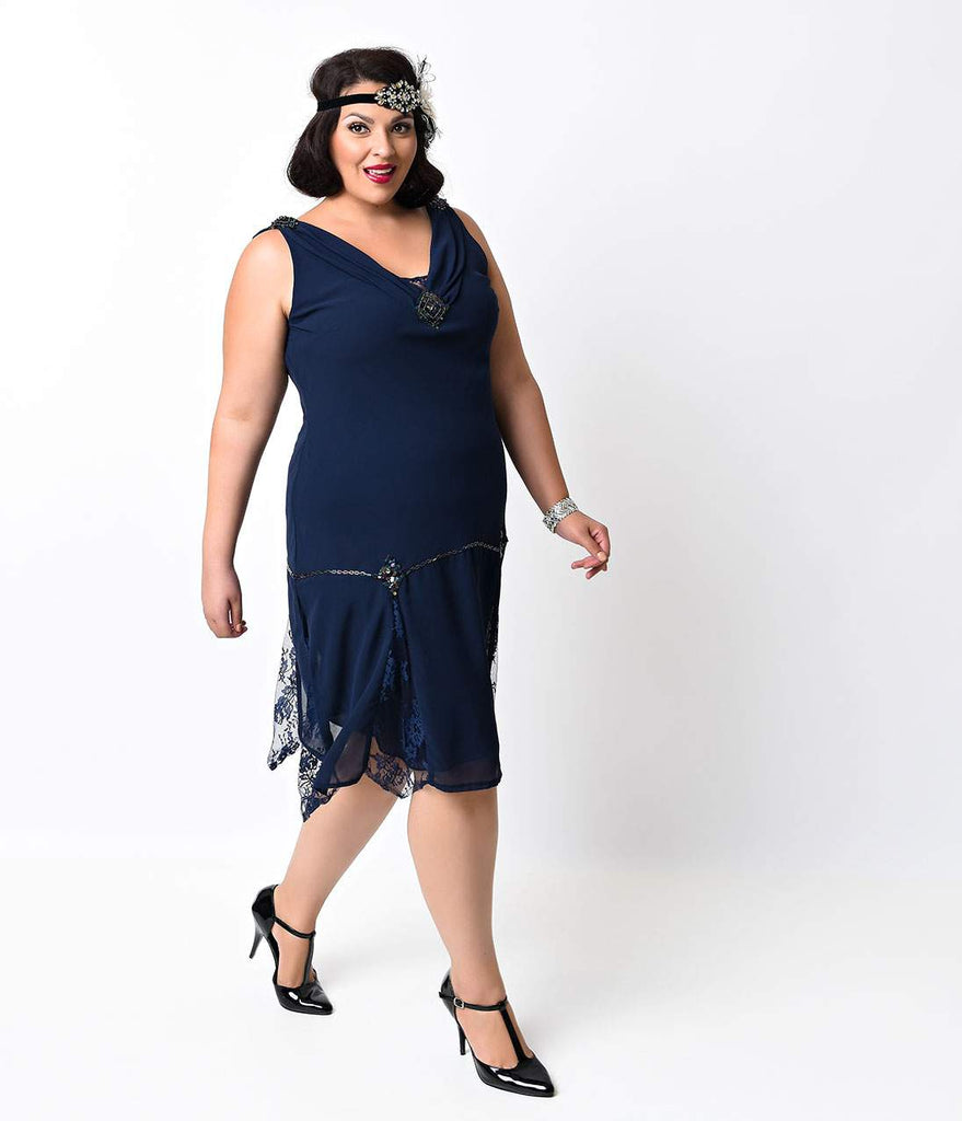 Unique Vintage Plus Size Navy Hemingway Flapper Dress