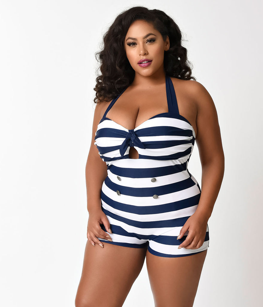 Unique Vintage Plus Size Navy & White Stripe Nautical Garbo Swimsuit