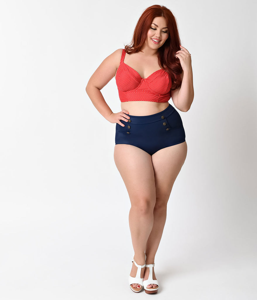 Unique Vintage Plus Size Red & White Pin Dot Marlene Crop Swim Top
