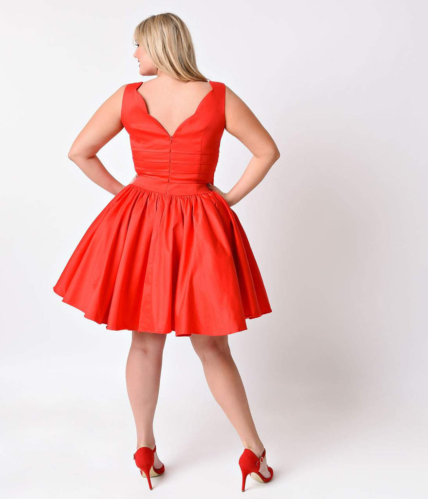 Unique Vintage Plus Size Roman Holiday Red Scalloped Swing Dress