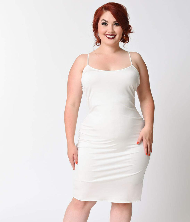 Unique Vintage Plus Size Short Ivory Stretch Slip