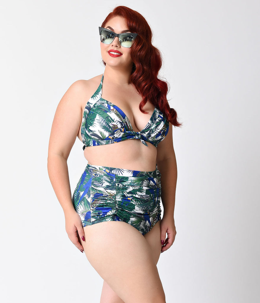 Unique Vintage Plus Size Tropical Parrot Monroe Halter Swim Top
