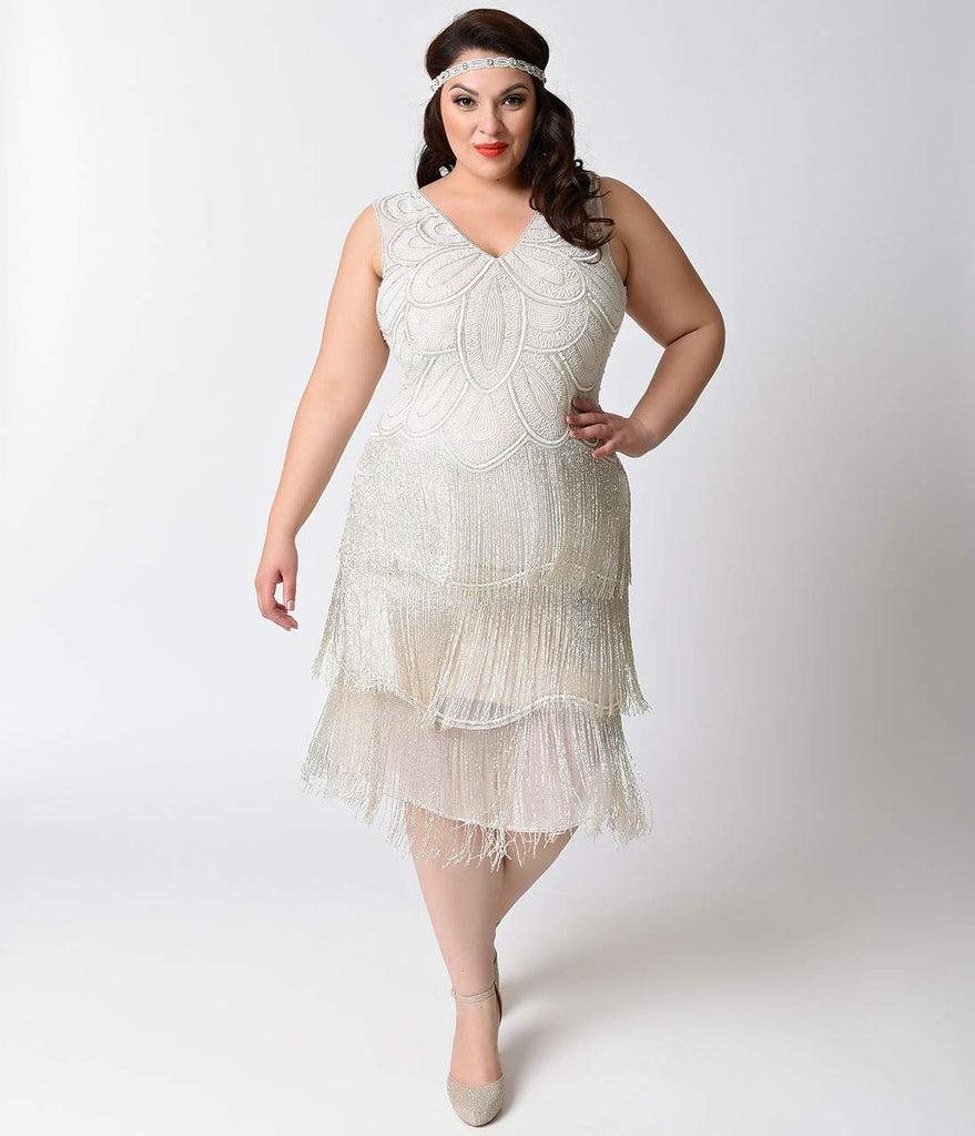 White Beaded Fringe Flapper Dress