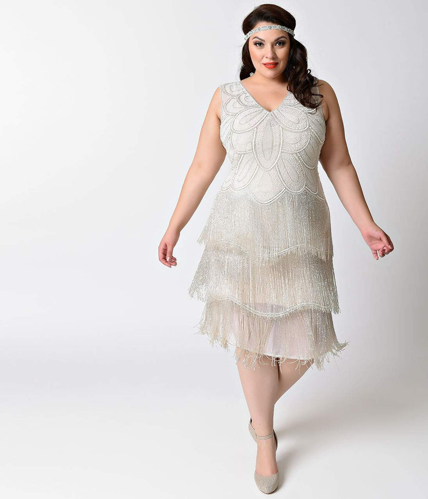 Unique Vintage Plus Size White Beaded Gigi Chiffon Fringe Flapper Dress