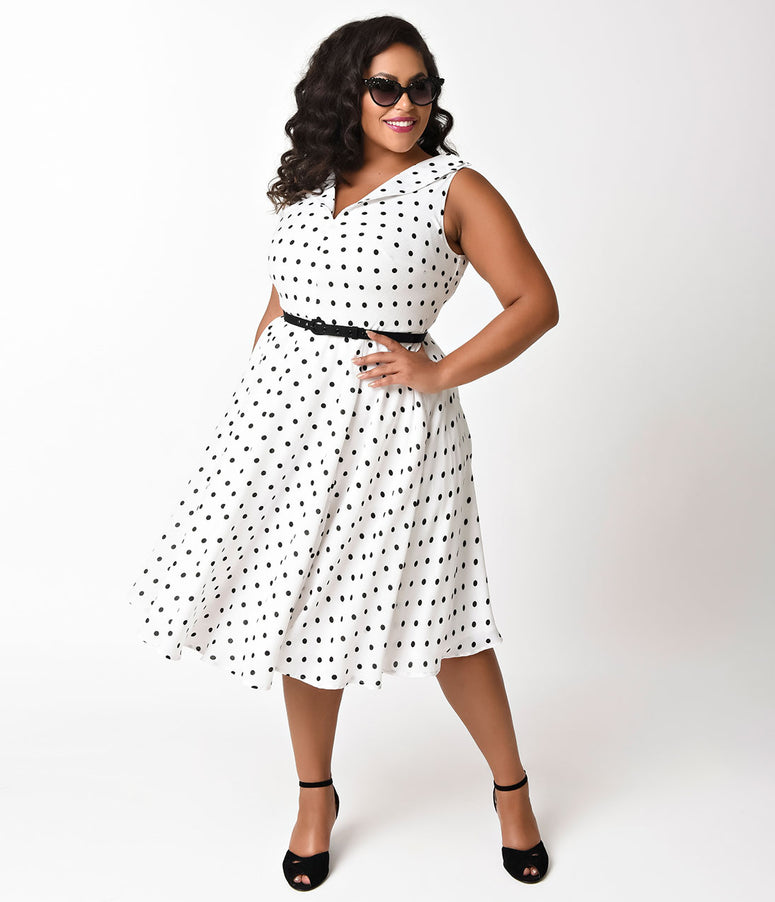Unique Vintage Plus Size White & Black Dotted Crepe Doris Swing Dress