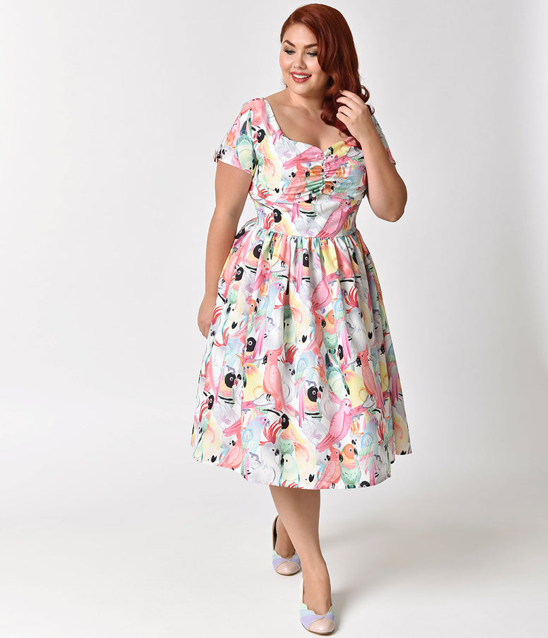 Unique Vintage Plus Size 1950s Style Multicolor Parrot Print Short Sleeve Draper Swing Dress