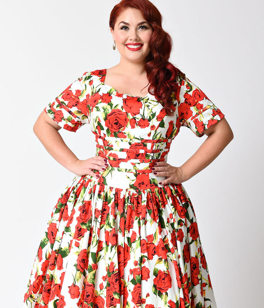 Unique Vintage Plus Size White & Red Floral Roman Holiday Sleeved Swing Dress