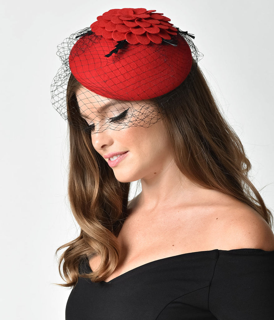 Unique Vintage Red Wool Floral Round Hat & Veil Fascinator
