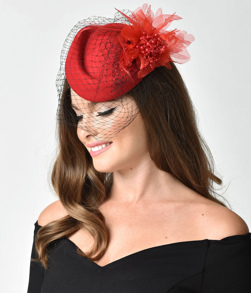 Unique Vintage Red Wool Hat & Feather Veil Fascinator