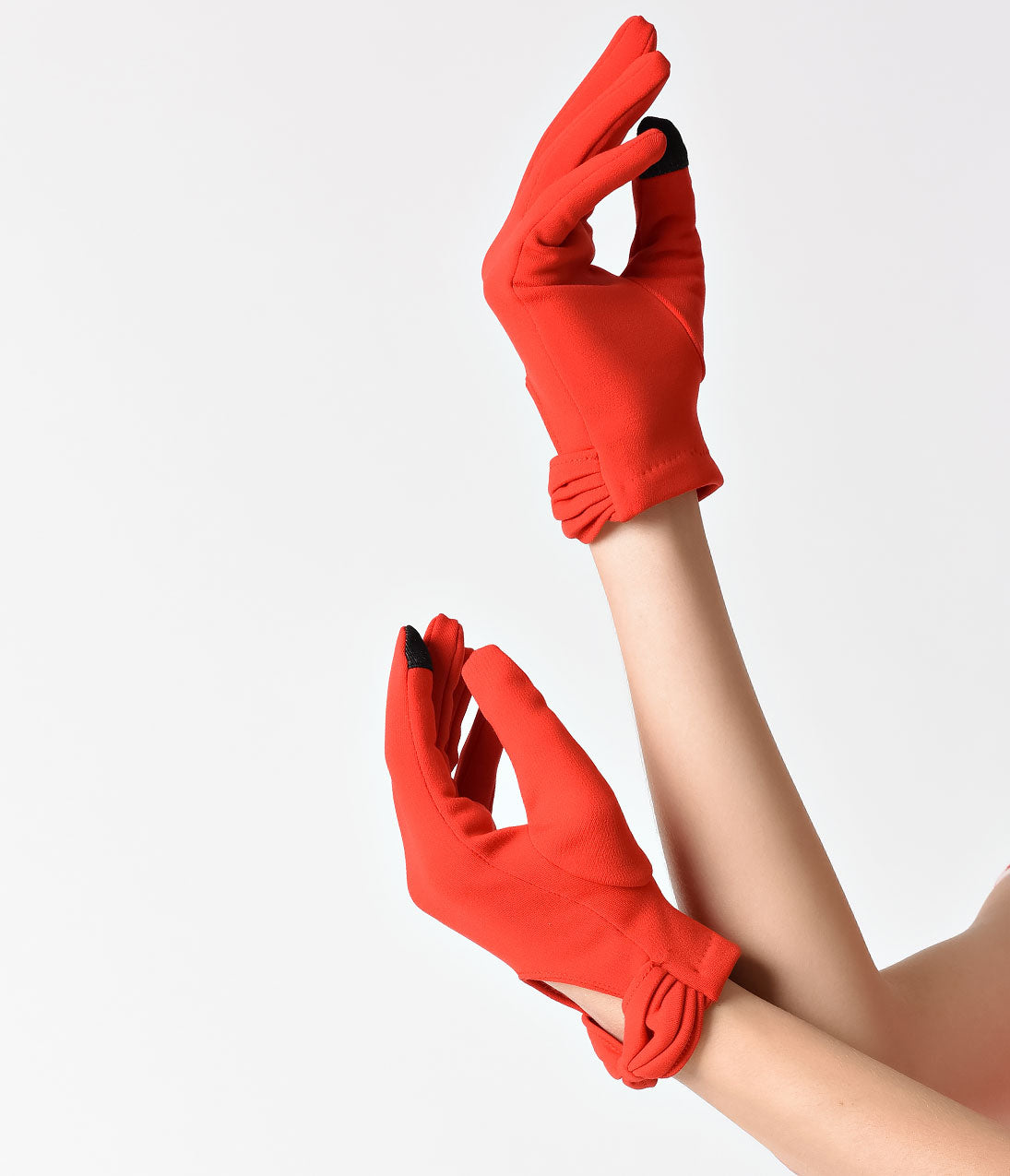 Vintage Gloves – Styles from 1900 to 1960s Unique Vintage Red Wrist Length Bow Keyhole Gloves $18.00 AT vintagedancer.com