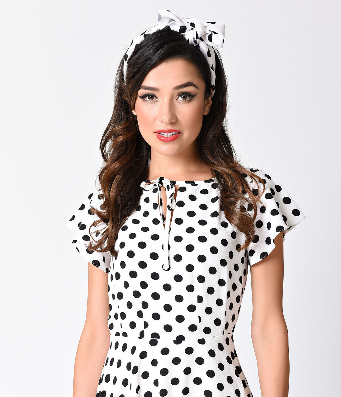 d926b7739277 Unique_Vintage_Retro_Pin-Up_White_Black_Polka_Dot_Chiffon_Hair_Scarf_1.jpg?v=1516330999