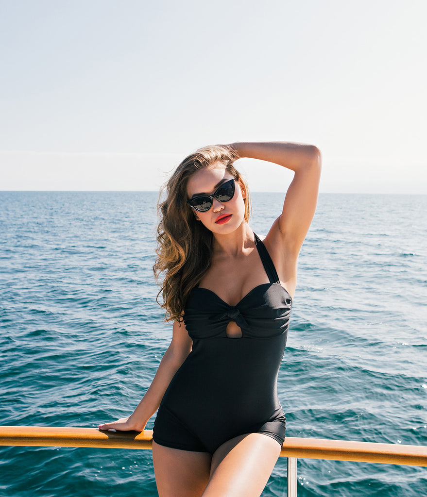 Unique Vintage Retro Style Black One-Piece Garbo Halter Swimsuit