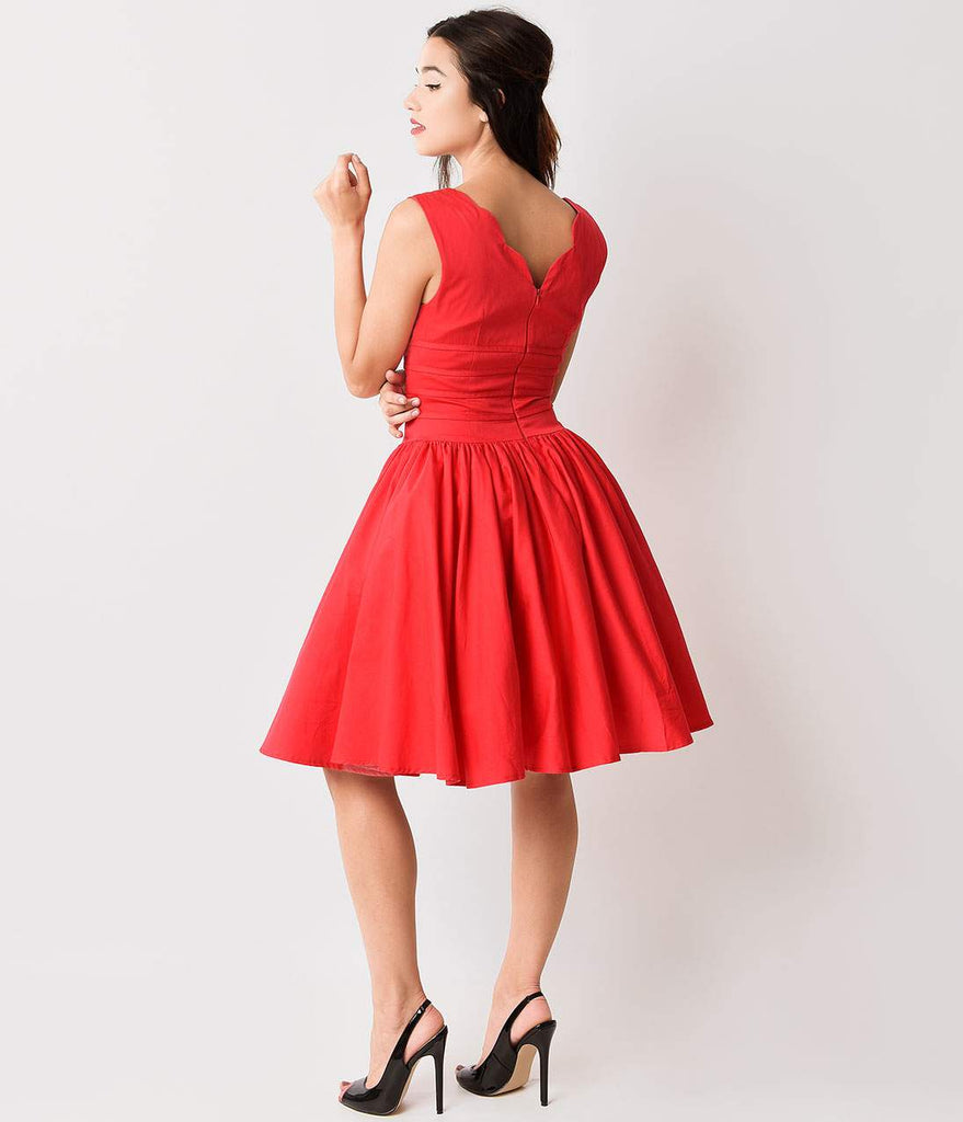 Unique Vintage Roman Holiday Red Scalloped Swing Dress