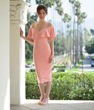 Unique Vintage Rose Pink Knit Draped Sophia Wiggle Dress