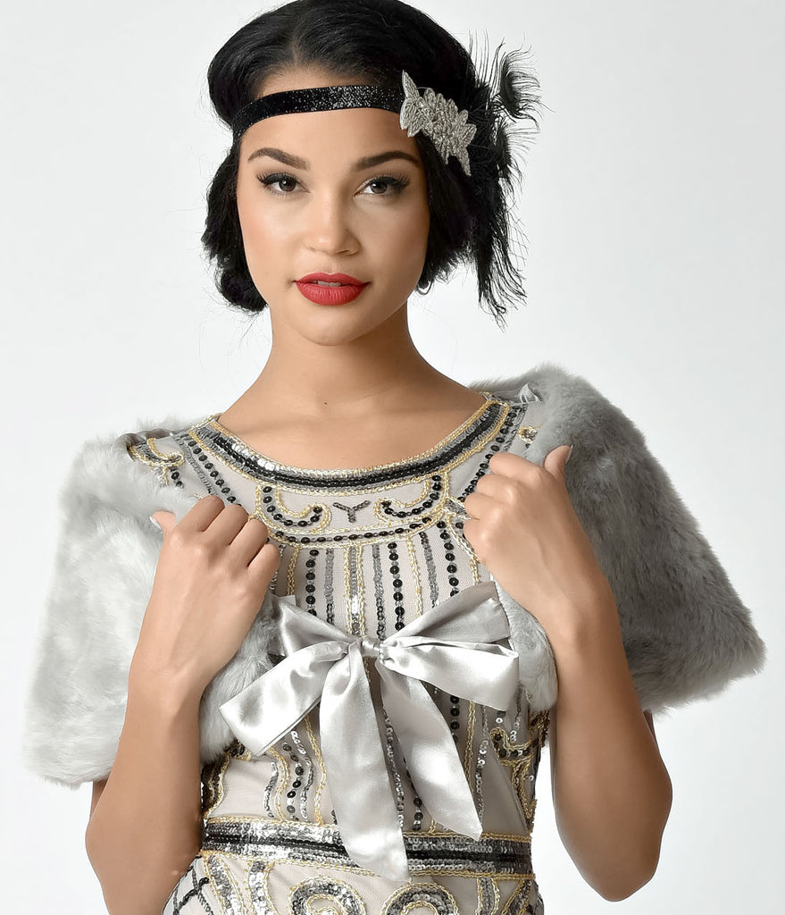 Unique Vintage Silver Grey Faux Fur Ribbon Tie Shrug