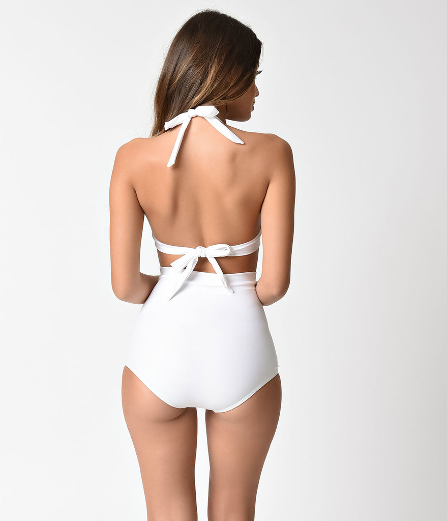 Unique Vintage Solid White Monroe Halter Swim Top
