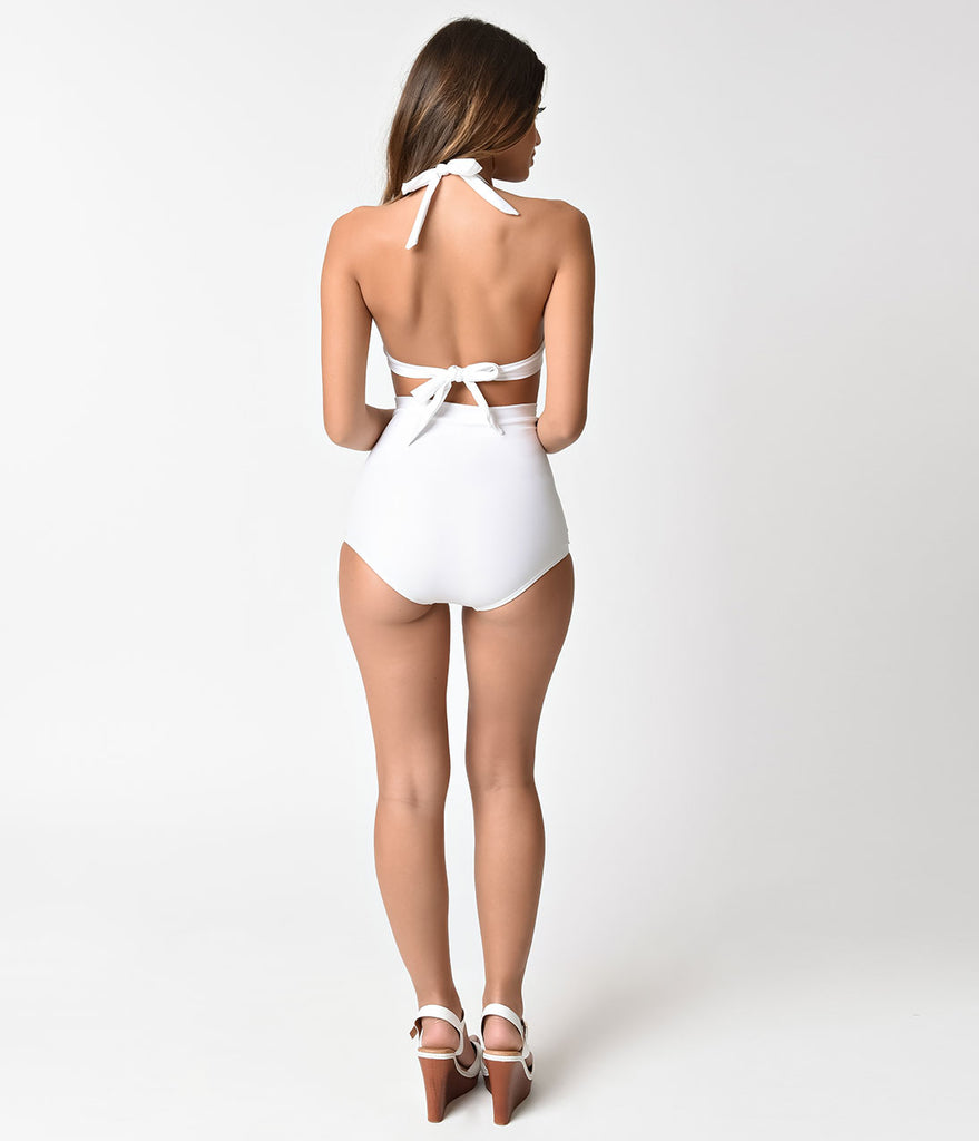 Unique Vintage Solid White Monroe High Waist Swim Bottom