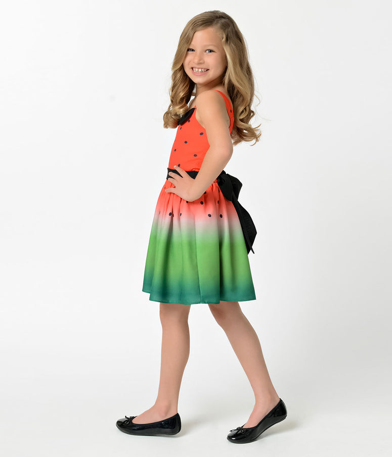 Unique Vintage Watermelon Ombre Sleeveless Girls Dress