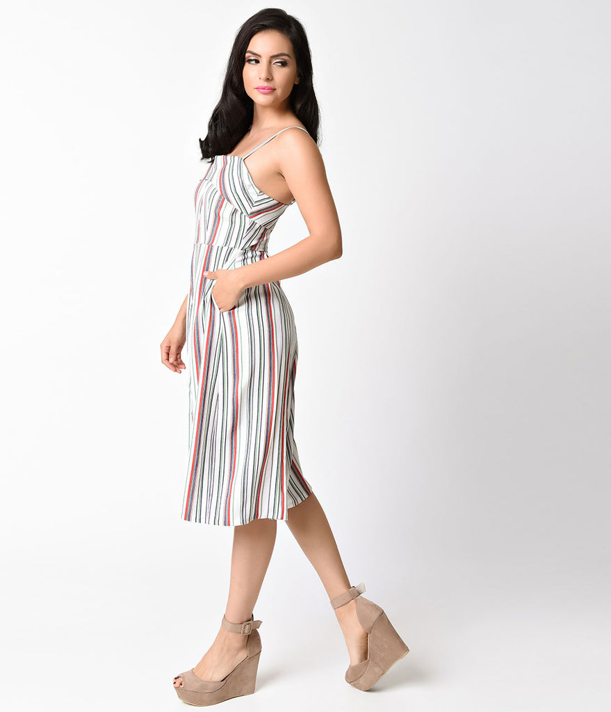 Unique Vintage White & Multicolor Stripe Wide Leg Nancy Romper