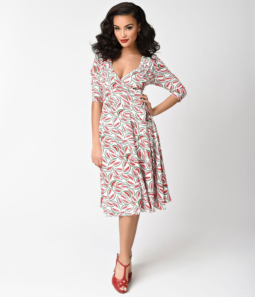 Unique Vintage 1940s Style White & Watermelon Kelsie Wrap Dress