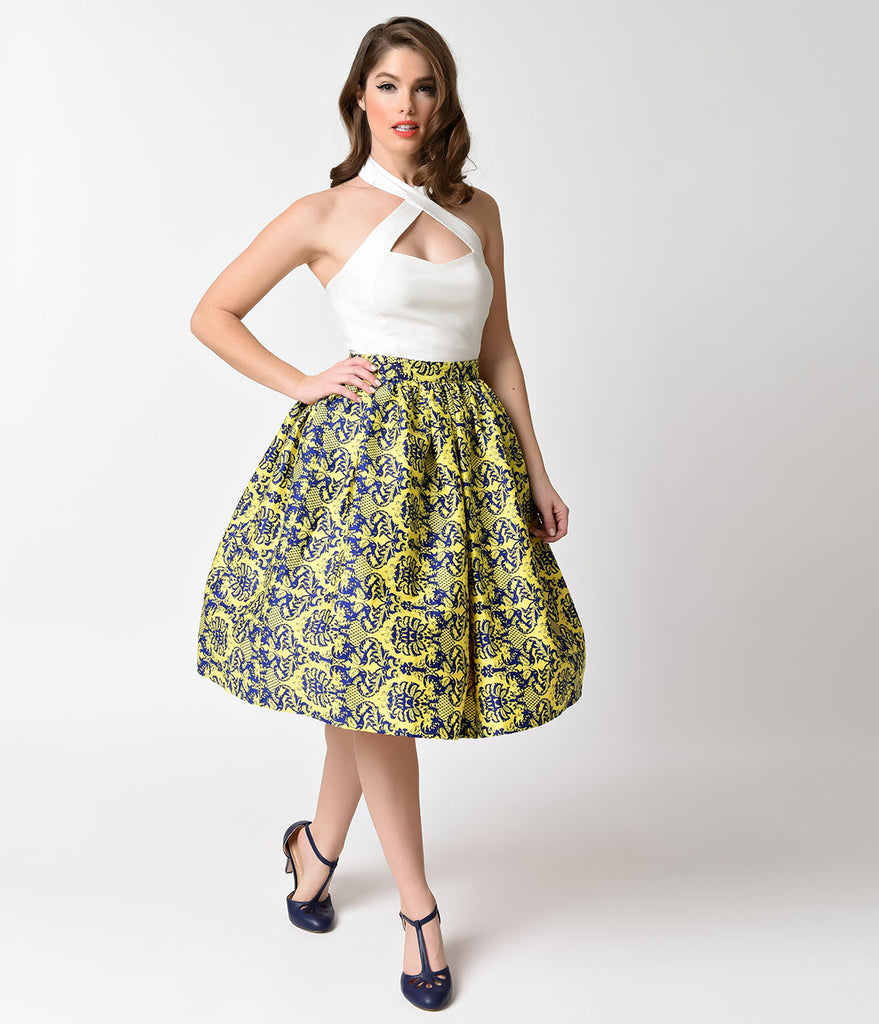 Unique Vintage Yellow & Navy Damask High Waist Swing Skirt